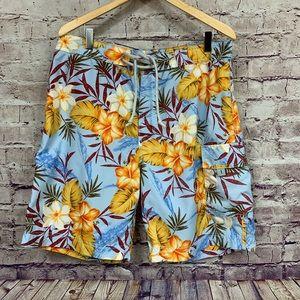 Banana Republic Blue Floral Tropical Board Shorts